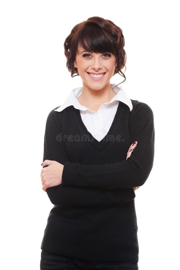 黑色套头衫衬衣兴高采烈的白人妇女 库存照片