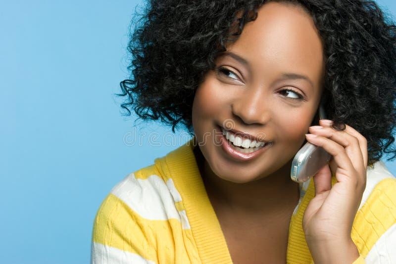 黑色女孩电话 库存照片