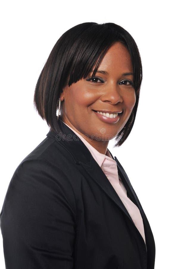 黑色女实业家年轻人 免版税库存照片
