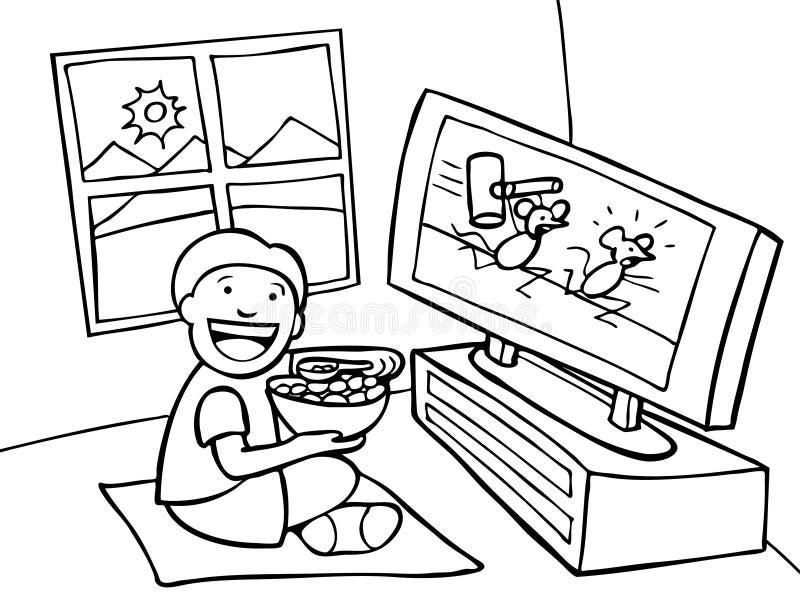 黑色孩子电视注意的白色 库存例证