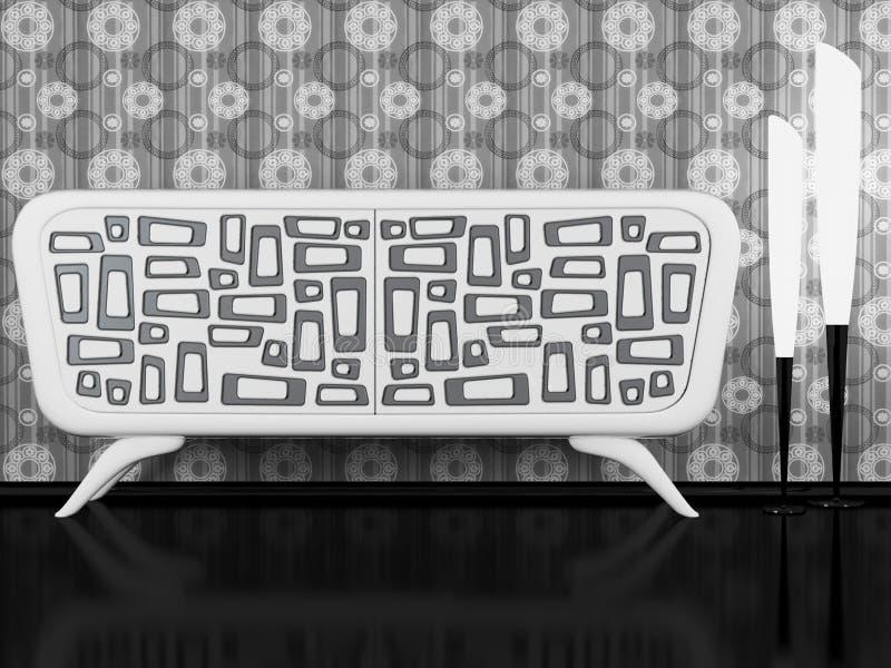 黑色室内现代餐具柜白色 皇族释放例证