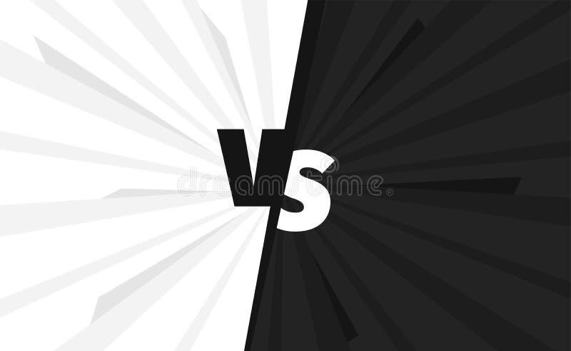 黑色对白色队对争斗屏幕 战斗背景竞争 反对对比 向量例证