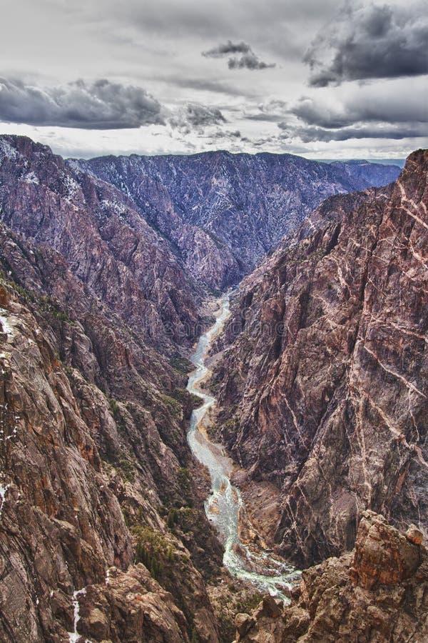 黑色峡谷co gunnison公园河 免版税库存照片