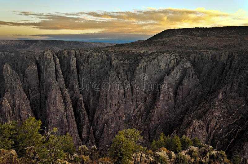 黑色峡谷gunnison hdr日出 库存照片
