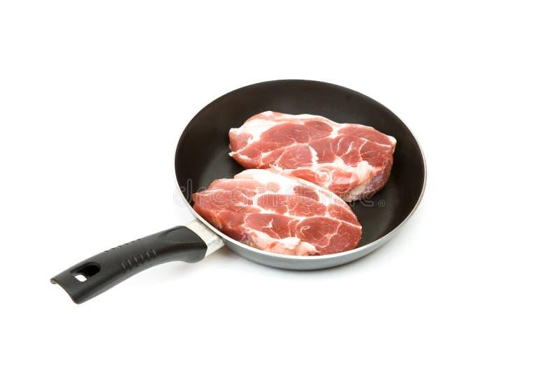 黑色平板炉猪肉 免版税库存照片