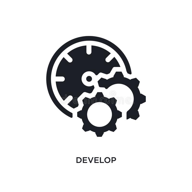 黑色开发被隔绝的传染媒介象 从时间管理概念传染媒介象的简单的元素例证 开发编辑可能的商标 向量例证
