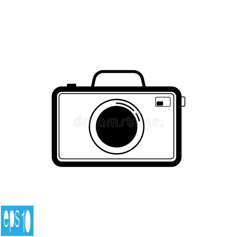 黑色彩色照片照相机象,黑稀薄的线-传染媒介例证 向量例证