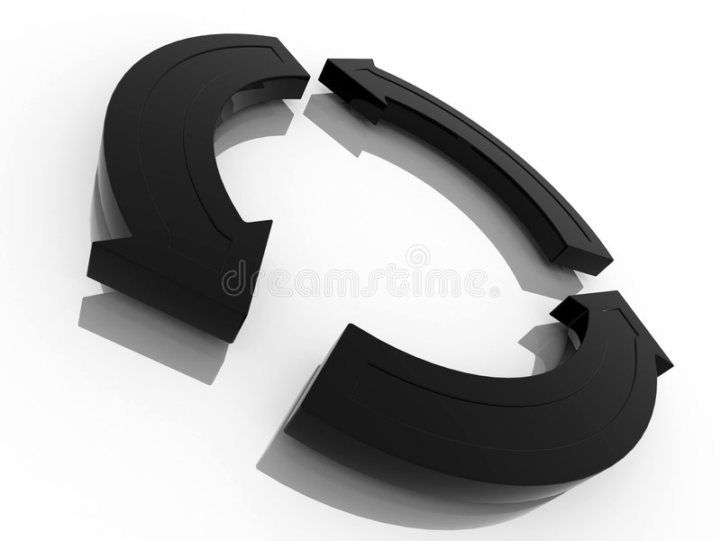 黑色循环回收符号 向量例证