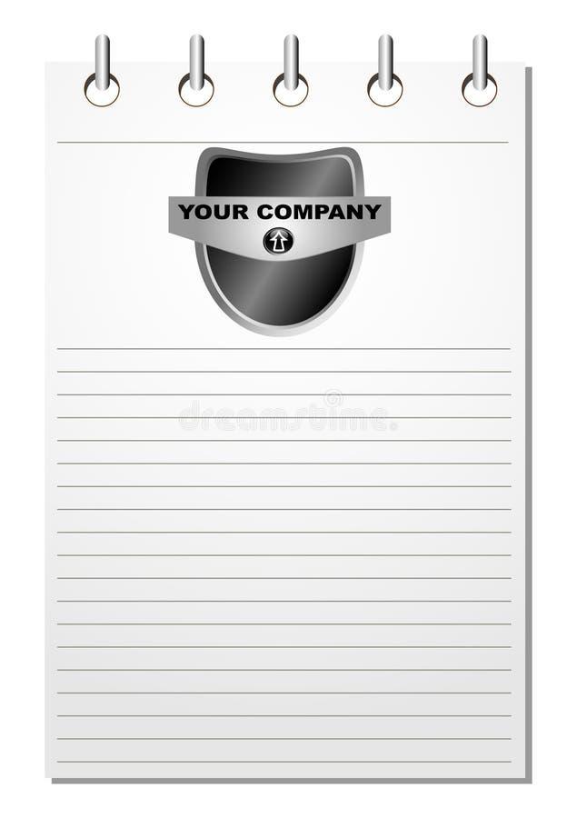 黑色徽标记事本 库存例证