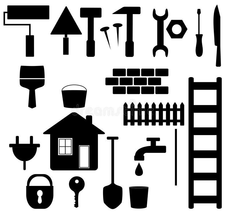 黑色房子查出的维修服务集合工具 库存例证