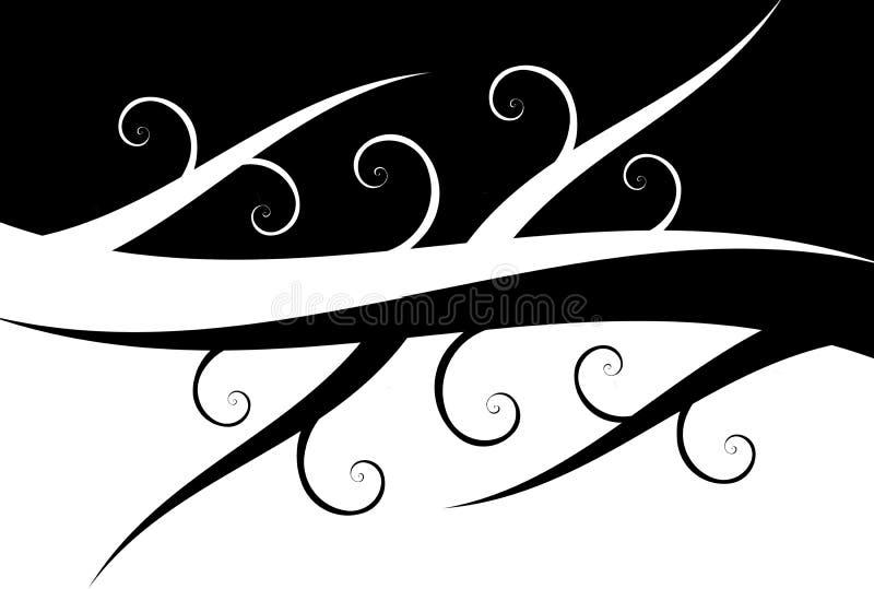 黑色打旋白色 向量例证
