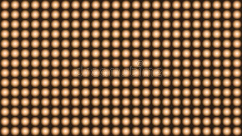 黑色抽象背景与黄灯电灯泡的装饰品的 库存例证