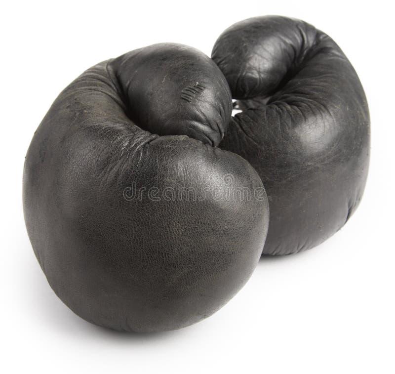 黑色拳击手套 库存照片