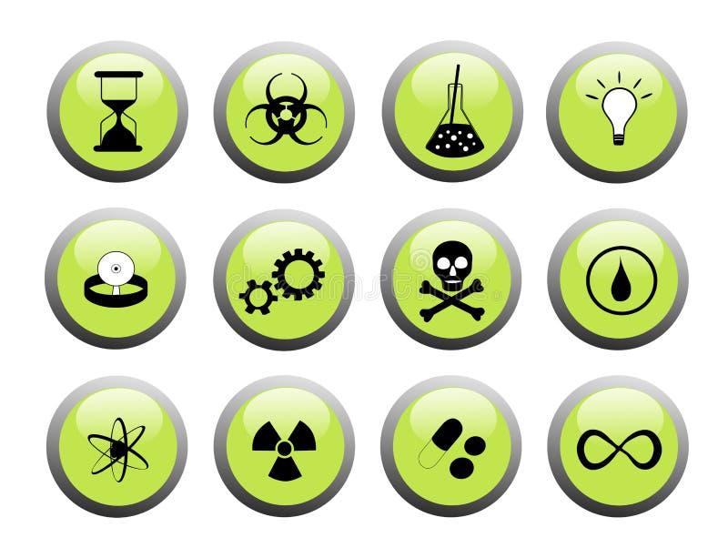 黑色按绿色科学 库存例证