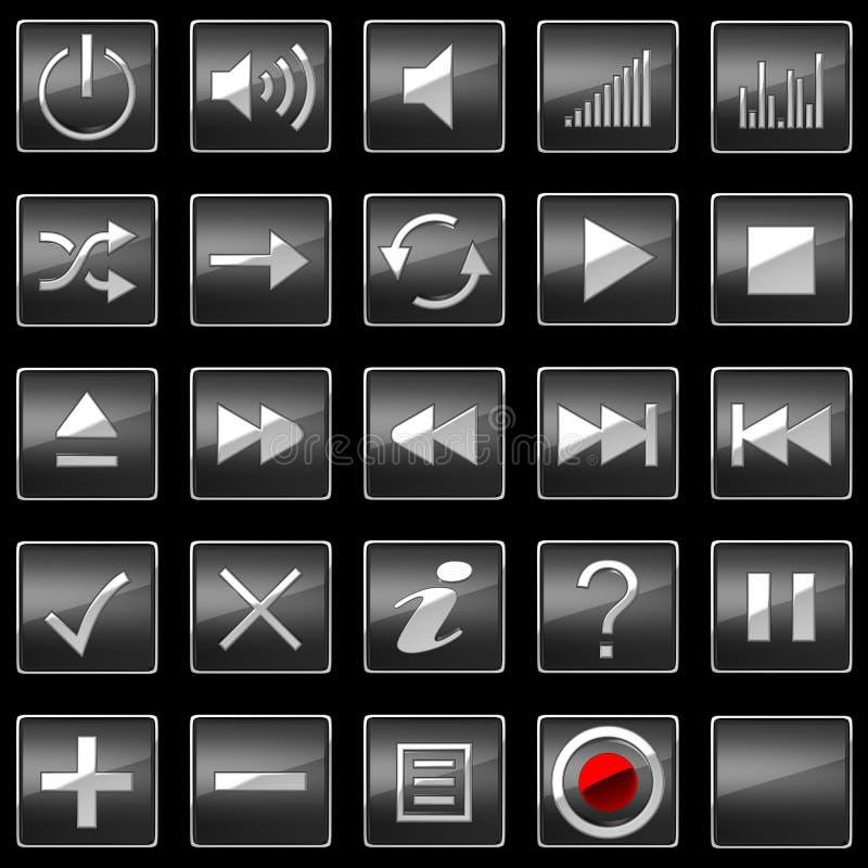 黑色按钮控制图标面板 皇族释放例证