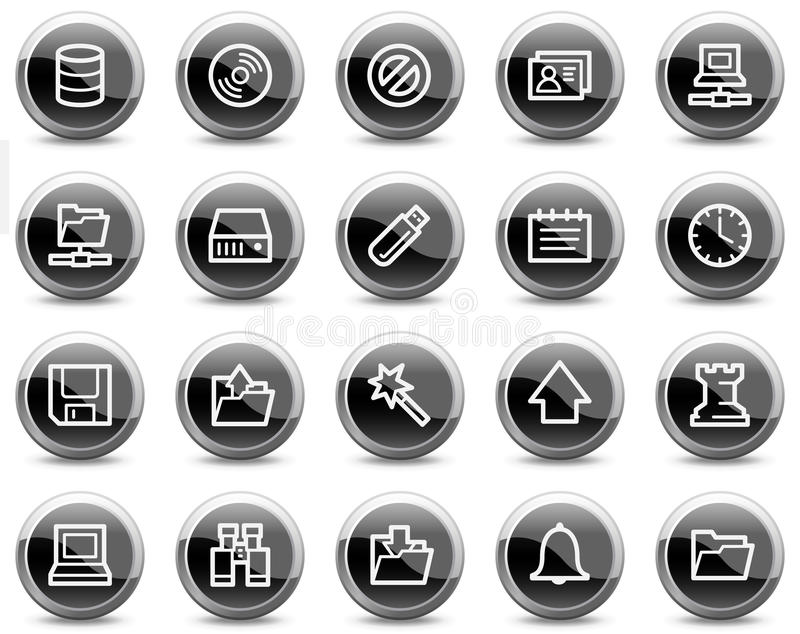 黑色按钮盘旋光滑的图标服务器万维&# 向量例证