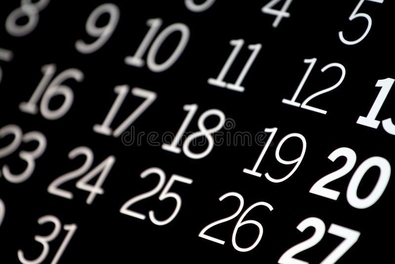黑色日历 免版税库存图片