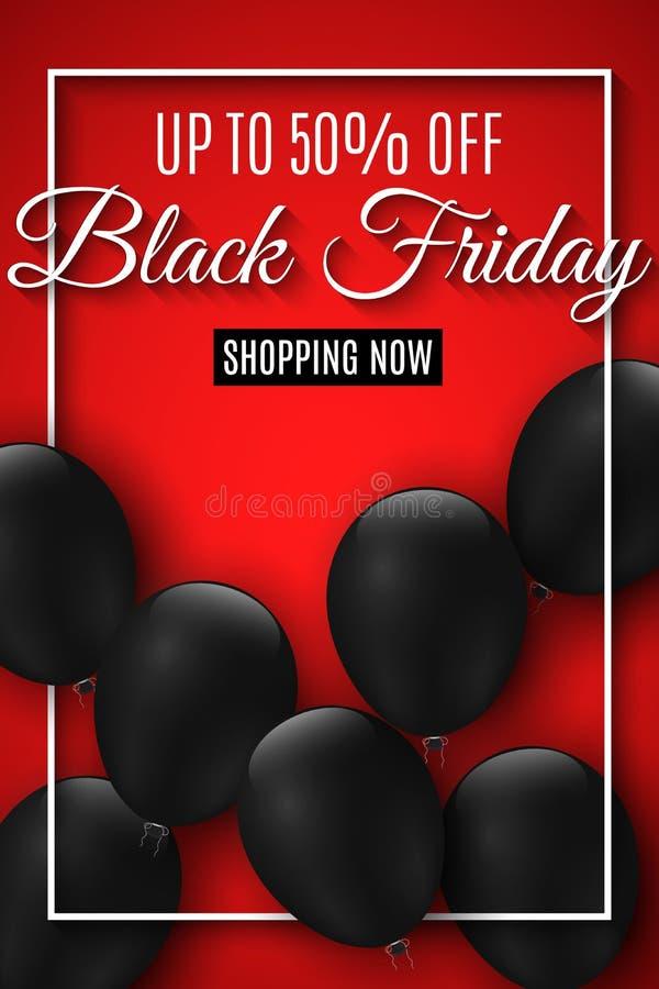 黑色星期五销售额 在红色背景的现实黑气球 大贴现 对您的企业项目 网飞行物 传染媒介illus 库存例证