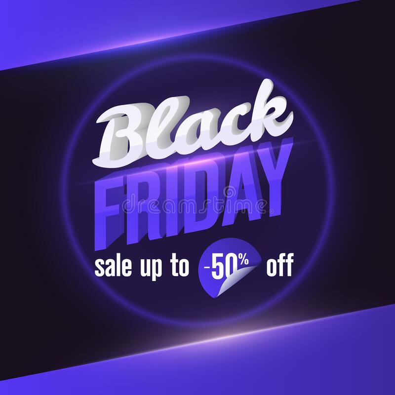 黑色星期五销售Web横幅模板 Trending Social Media Banner设计模板 用于销售横幅、海报、汽车的设计元件 库存例证