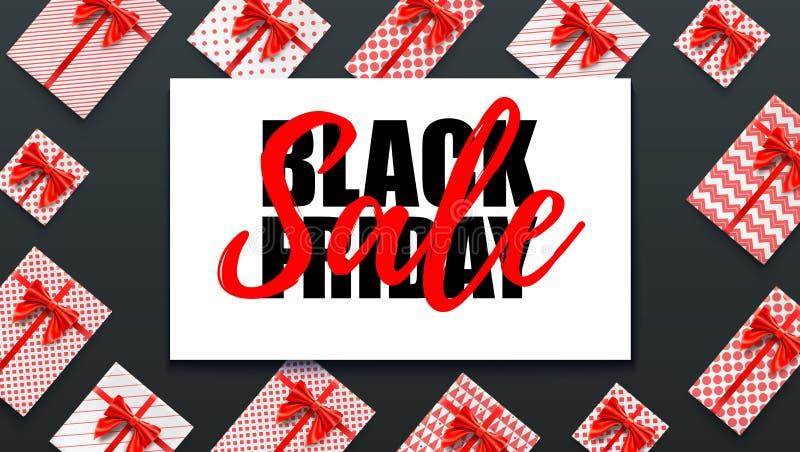 黑色星期五 假日销售 零售的,购物,圣诞节促进装饰元素 礼物盒,红色丝带和 皇族释放例证