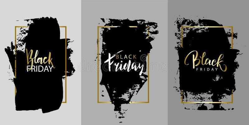 黑色星期五 导航黑油漆,着墨刷子冲程、刷子、线或者纹理 构造艺术性的设计元素,箱子,框架 库存例证