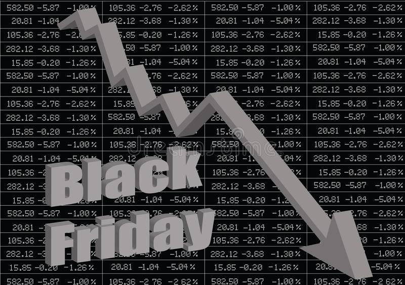 黑色星期五 证券市场暴跌 皇族释放例证