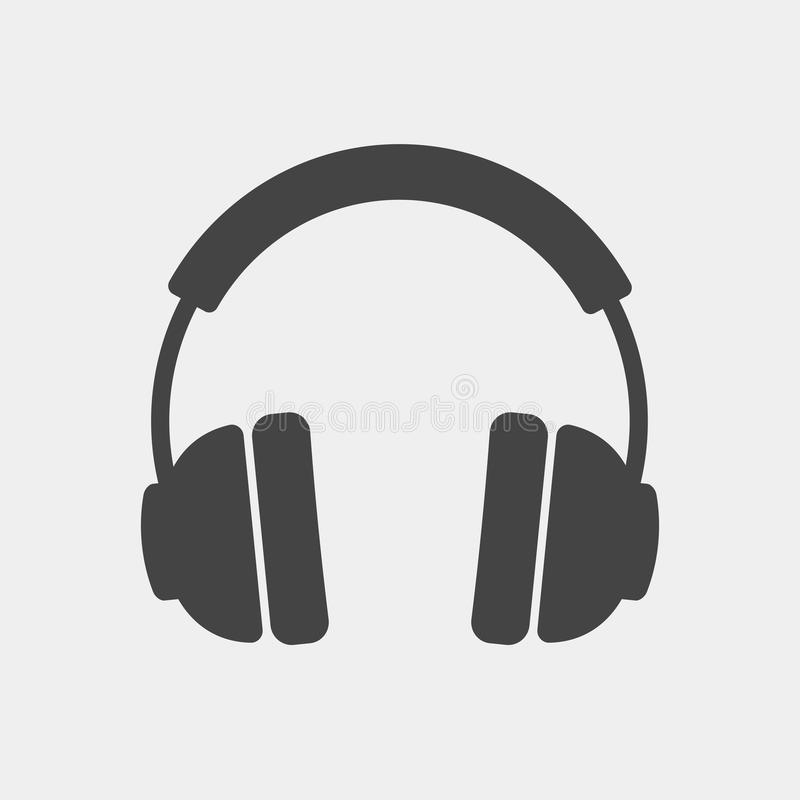黑色更改耳机图标向量白色 在白色背景的耳机图象 皇族释放例证