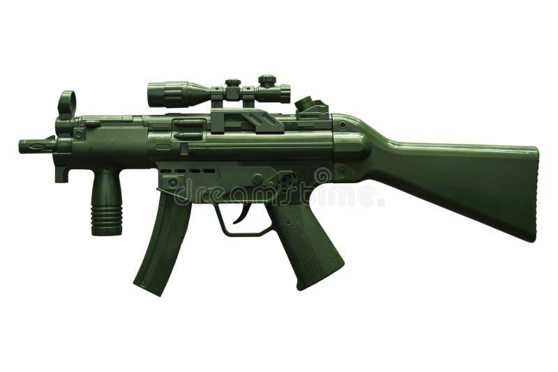 黑色机器玩具枪有白色背景 免版税库存照片