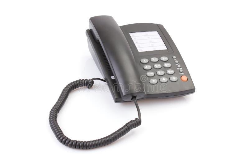 黑色查出的办公室电话白色 免版税库存照片