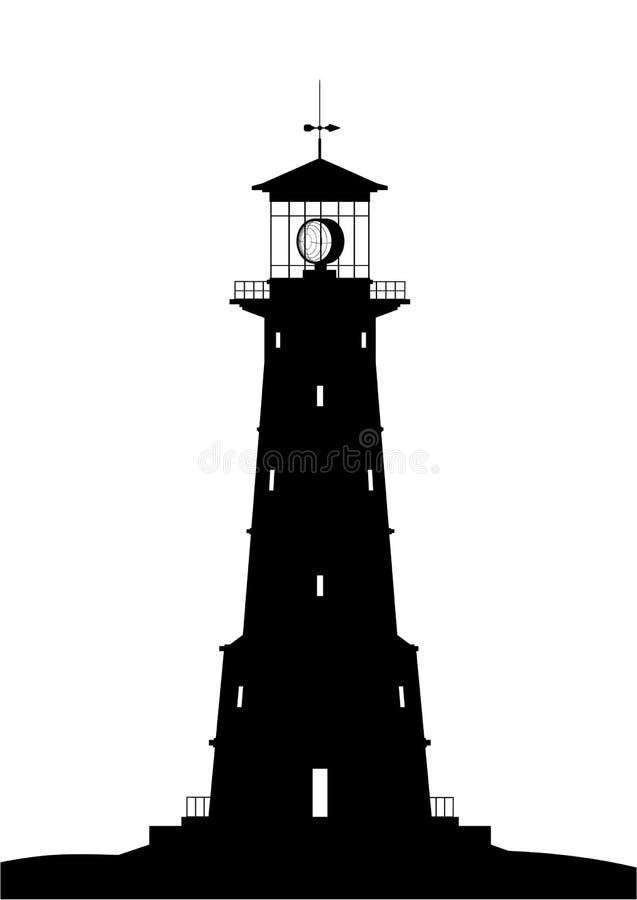 黑色查出的灯塔 向量例证