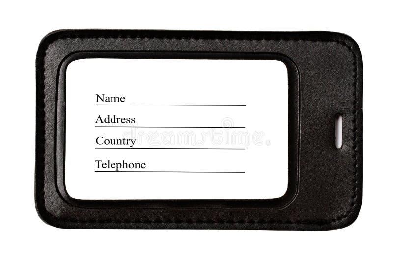 黑色查出的皮革皮箱标签 免版税库存图片