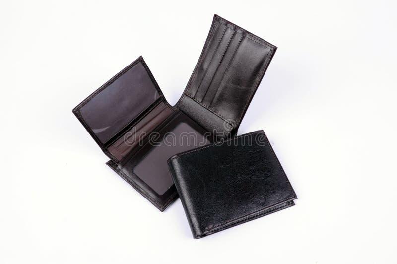 黑色查出的皮革钱包 库存照片