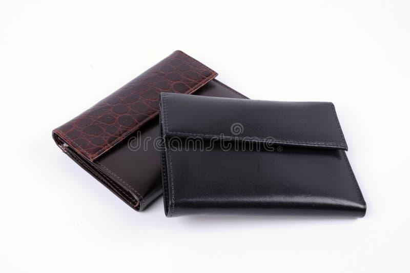 黑色查出的皮革钱包 免版税库存照片