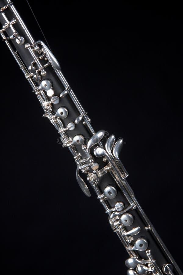 黑色查出的oboe 免版税库存照片