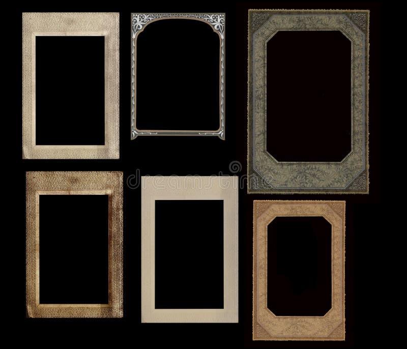 黑色框架查出集合葡萄酒 库存例证