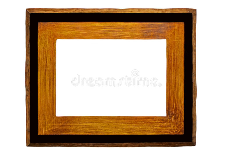 黑色框架照片土气木头 免版税库存照片