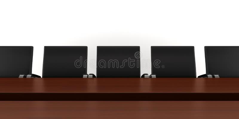 黑色棕色椅子查出会议桌 库存例证