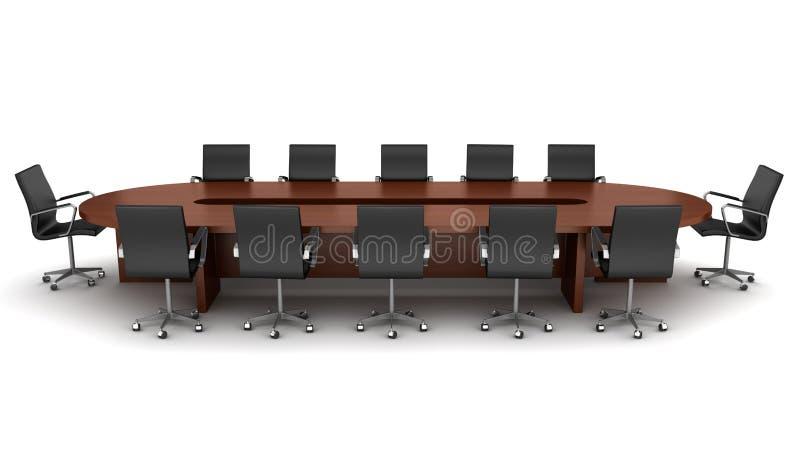 黑色棕色椅子查出会议桌 向量例证
