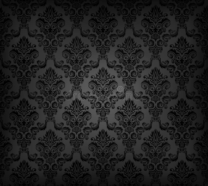 黑色模式无缝的墙纸 库存例证