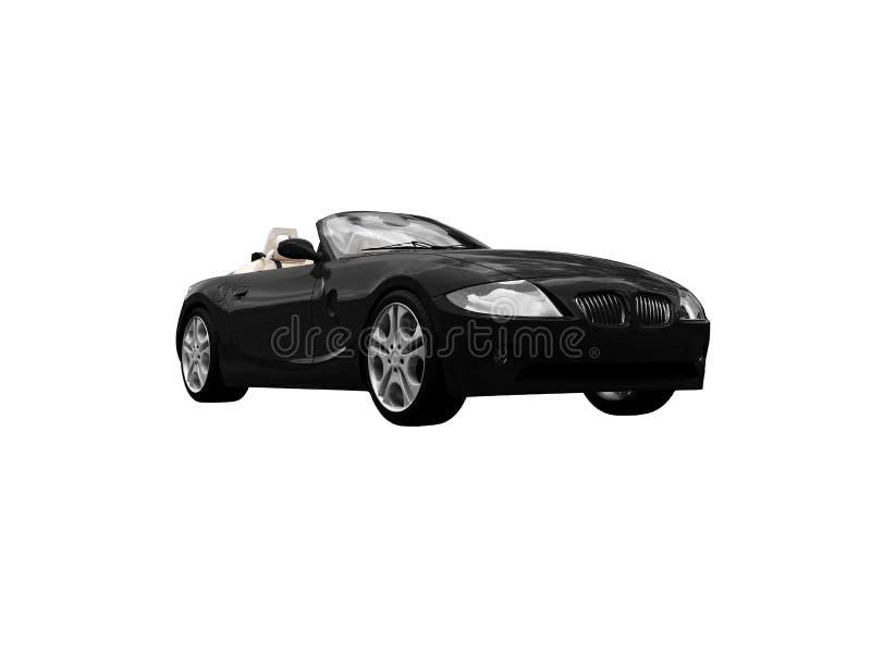 黑色汽车前面查出的视图 向量例证