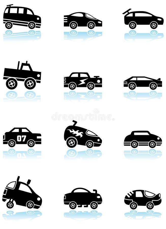 黑色汽车图标种族白色 库存例证