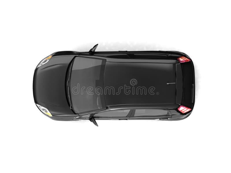 黑色汽车斜背式的汽车顶视图 皇族释放例证