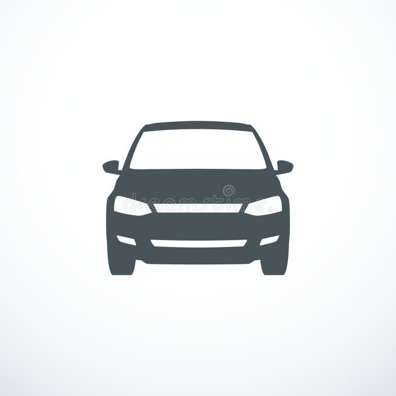 黑色汽车更改图标向量白色 正面图 也corel凹道例证向量 皇族释放例证