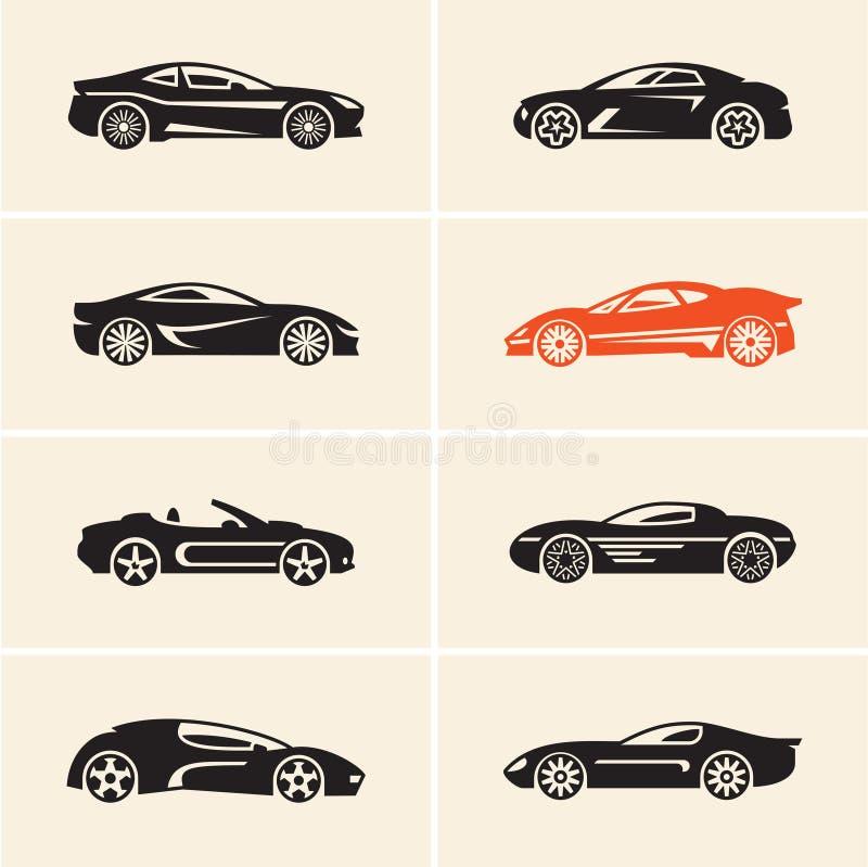 黑色汽车更改图标向量白色 跑车 向量例证