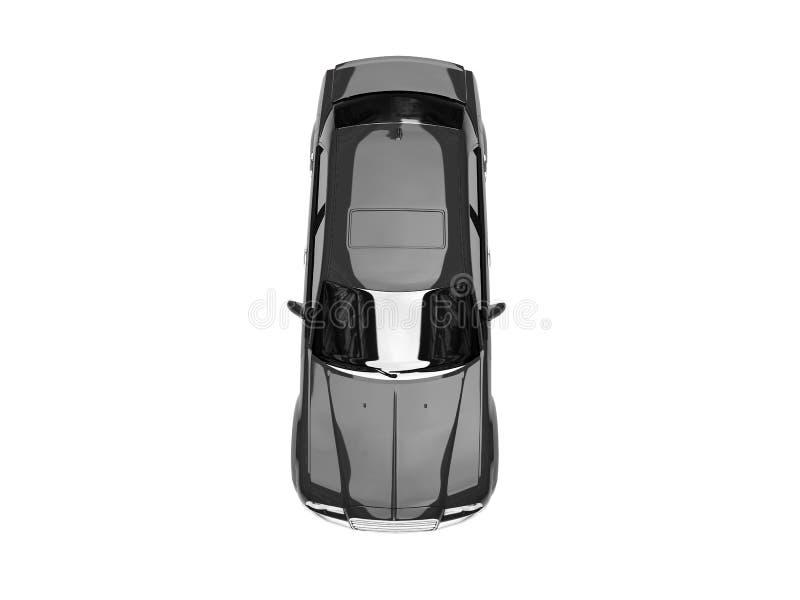 黑色汽车查出的顶视图 向量例证