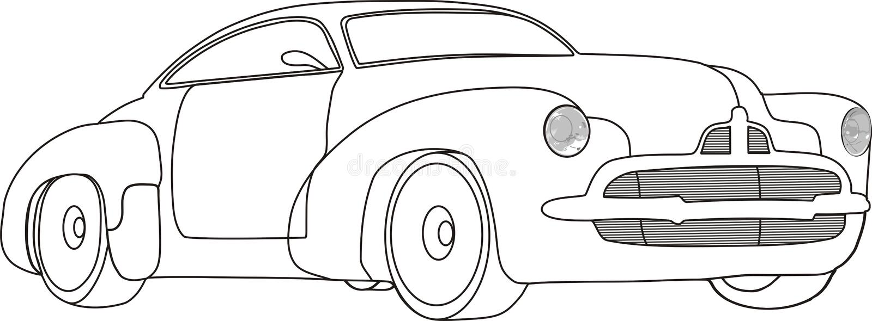 黑色汽车白色 库存例证
