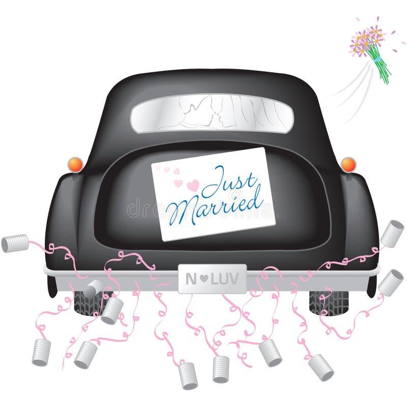 黑色汽车结婚的符号w 库存例证