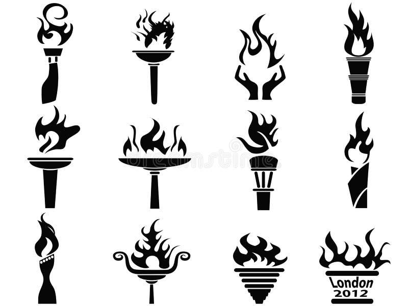 黑色火火焰图标被设置的火炬 库存例证