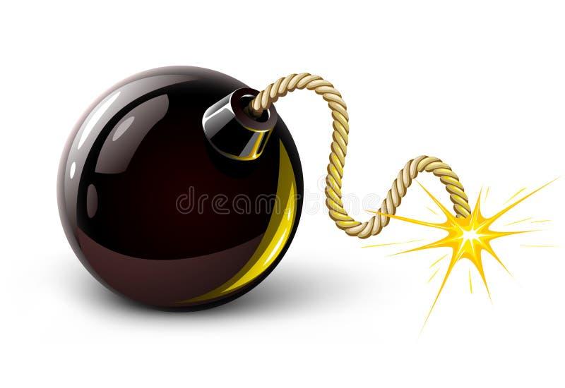 黑色炸弹灼烧的向量 皇族释放例证