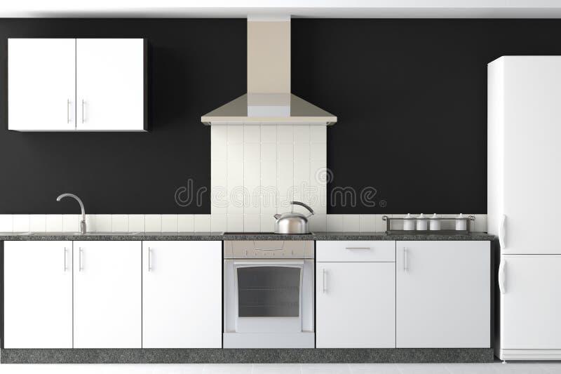 黑色现代设计内部的厨房 向量例证